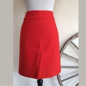 J. CREW U.K. Red Wool Lined No. 2 Pencil Skirt